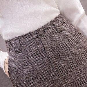 Image 3 - S 2xl סתיו החורף משובץ צמר הרמון מכנסיים נשי 2020 קרסול אורך גבוהה מותן מכנסיים הרמון מכנסיים נשים בתוספת מכנסיים נשים