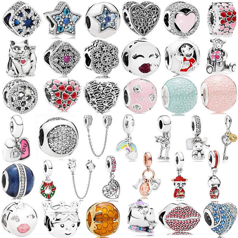 Silver 925 Boy Girl Mickey Unicorn Charms Beads Pendant Fit Pandora Bracelets & Necklace For Women DIY Lovers Jeweley(China)