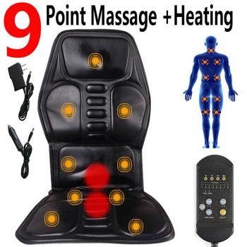 Masażer elektryczny 9 ogrzewanie silnika wibracyjny fotel do masażu pleców Cussion maszyna samochód Home Office lędźwiowy materac szyi ulga w bólu tanie i dobre opinie RAINOPO Bawełna ABS Średni Ciało Masaż i relaks 9 motor massage