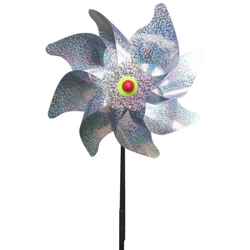 Windmill Garden Decoration Outdoor DIY Silver Wind Spinner Kids Toy Bird Repeller Sparkly Pinwheels Bird Deterrant