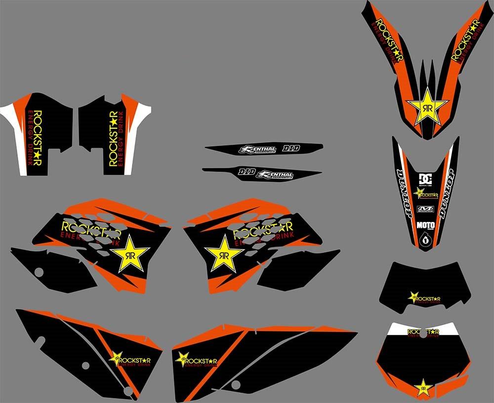 2008 2009 2010 KTM EXC XCF 125 250 300 450 530 ROCKSTAR ORANGE BLACK DECALS KIT