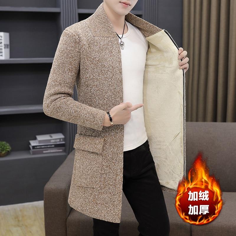 Winter Mens Knitted Cardigan Coat Plush Liner Warm Coats Long Sweatercoat T196