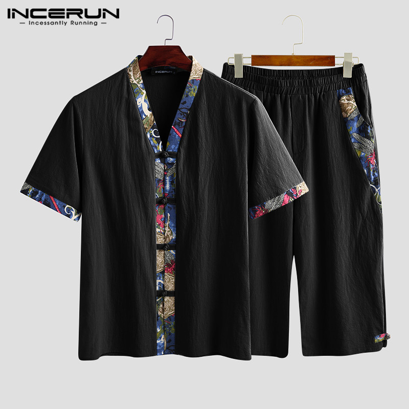 INCERUN Chinese Style Men Sets Print Patchwork Half Sleeve V Neck Cotton Shirt Elastic Waist Pants Streetwear Vintage Men Suits