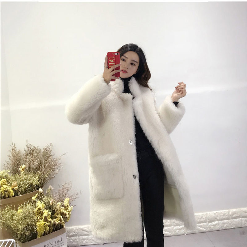 New Arrival Long Coat Winter Women Both Sides To Wear Parka Real Sheep PU Leather Jacket Thick Warm Outerwear Wool Fur Coats