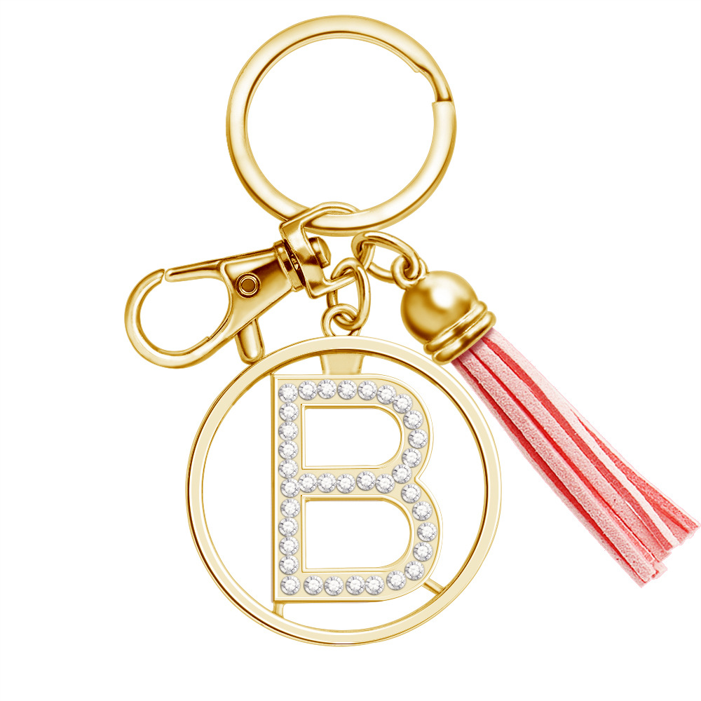 Women Jewelry Gold Letter Keychain Rhinestones Pink Tassel Bag Ornament Pendant Christmas Gift Key Chain Girl Initial Key Ring(China)