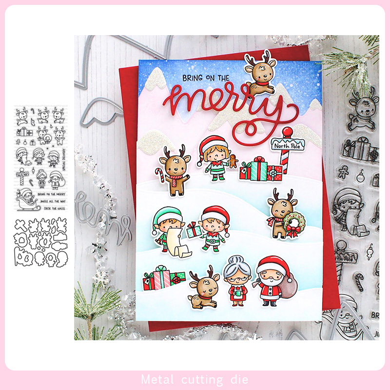 <font><b>Christmas</b></font> fawn set <font><b>Stamp</b></font> <font><b>and</b></font> Metal <font><b>Cutting</b></font> <font><b>Dies</b></font> DIY Scrapbooking for Photo Album Decorative Silicone Clear <font><b>Stamps</b></font> 2019 winter image