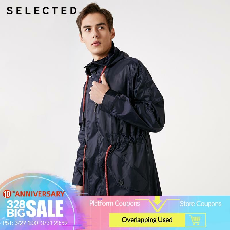 SELECTED Spring New Men's Silhouette Hooded Casual Long Windbreaker Jacket C|419121522