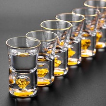 Manual Crystal Shot Glass Built In Pure Gold Goldleaf Liquor Spirits Firewater Mini Wine Cups Wine Divider Gift Box glass cup