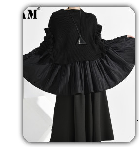 [EAM] 2020 New Spring Lapel Long Sleeve Solid Color Black Gray Split Joint Loose Big Size Jacket Women Fashion JC969 25