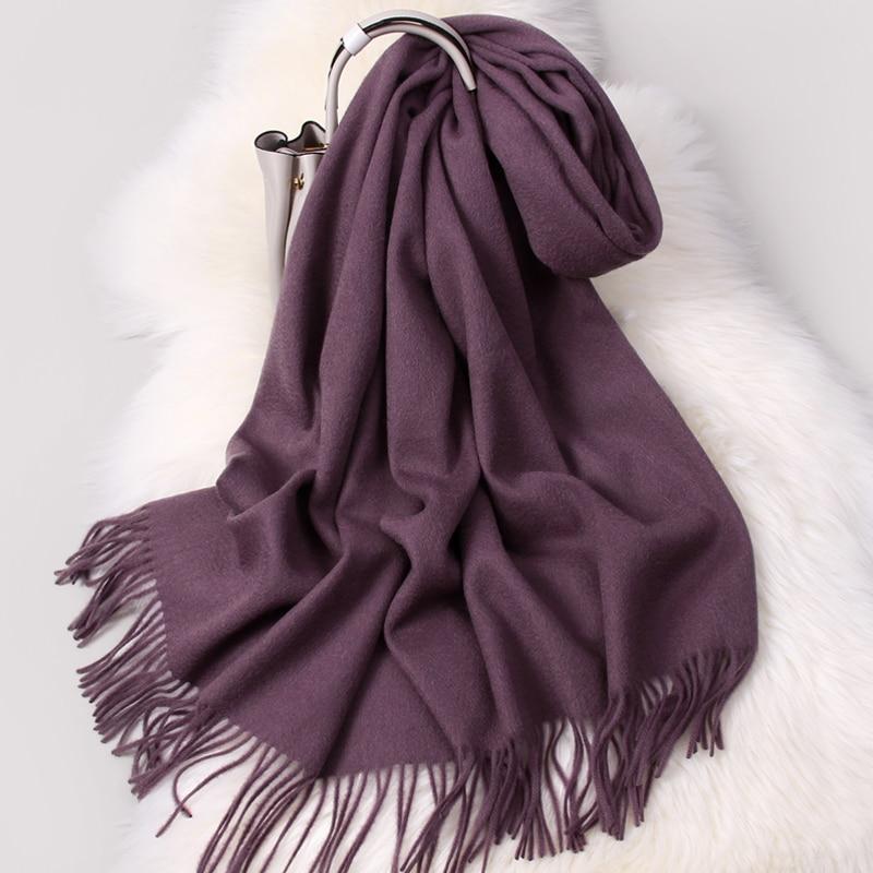 Winter 100% Pure Wool Scarf Women Solid Thicken Warm Echarpe Wraps For Ladies Cashmere Foulard Femme Grape Merino Wool Scarves
