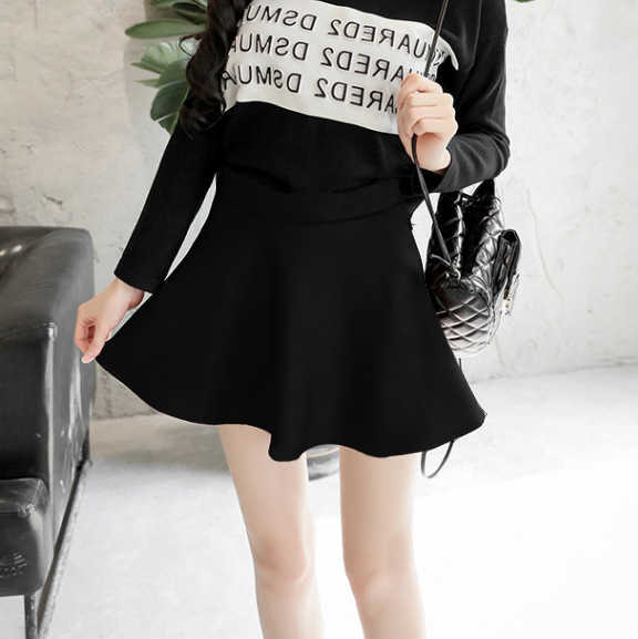 New Style Slimming Half-length A- Line Umbrella Pleated WOMEN'S Skirt Black And White With Pattern Students