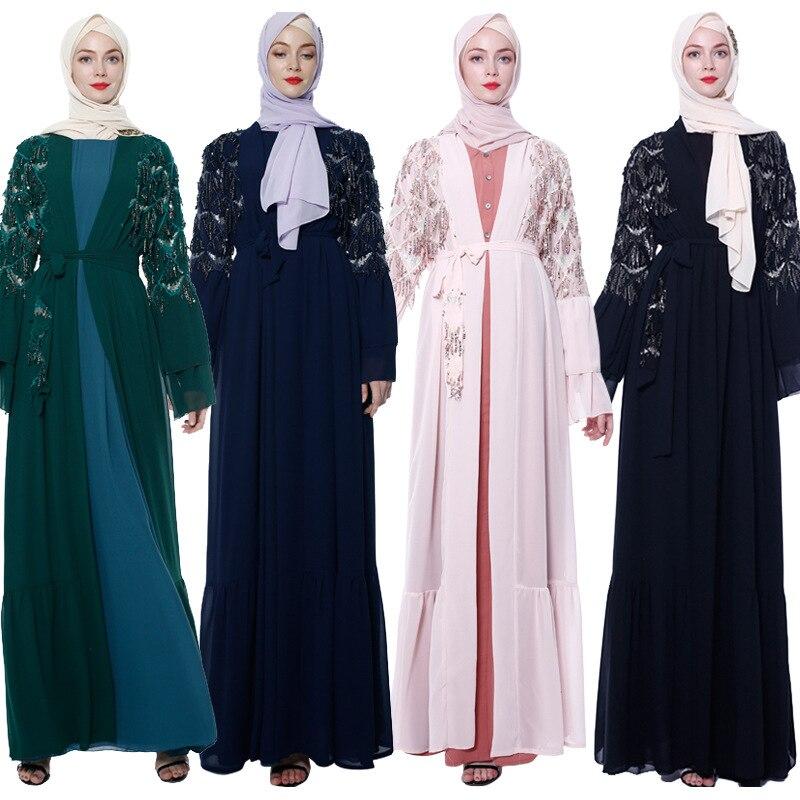 Sequin Tassel Open Abaya Turkey Kimono Dubai Muslim Hijab Dress Kaftan Abayas Women Caftan Robe Musulmane Femme Islamic Clothing