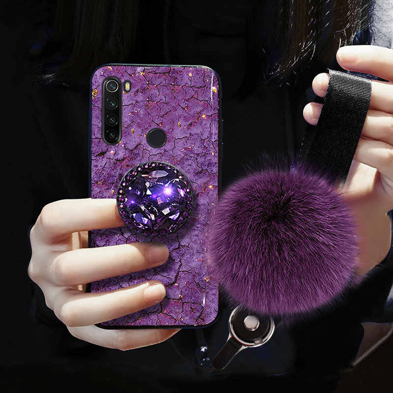 Luxe Beugel Voor Xiaomi Redmi Note 8 4A 4X 5 5A 6 6A 6Pro 7A 7 8 Pro 8A 8T 9 S2 Leuke Haar Bal 3D Bling Crystal Houder Cover