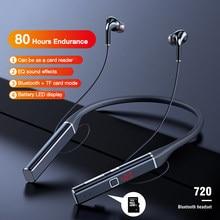 EARDECO 80 Hours Endurance Bluetooth Headphone Bass Wireless Headphones Stereo Neck Headset with Microphone Magnetic TF Card EQ