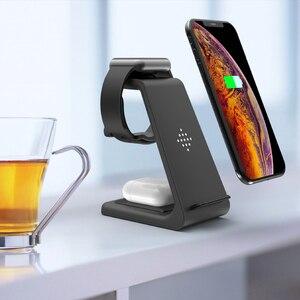 Image 2 - 3 in 1 10W 빠른 무선 충전기 아이폰 11 프로 X 충전기 도킹 스테이션 애플 시계 4 5 Airpods 무선 충전기 스탠드