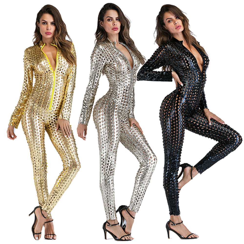 Sexy Faux PU Leather Catsuit Catwomen Shiny One Piece Bodycon Jumpsuit Black Gold Silver Wetlook Leotard Bodysuit Sequin