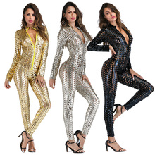 Sexy Faux PU Leather Catsuit Catwomen Shiny One Piece Bodycon Jumpsuit Black Gold Silver Wetlook Leo