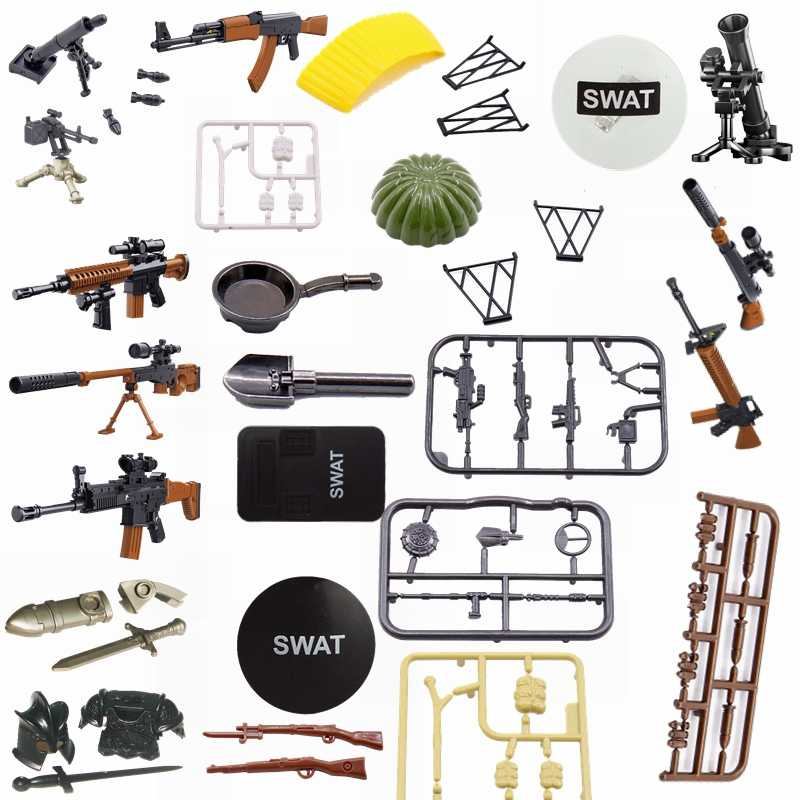 Legoing Military Set Block Toy Hobbies Explosives Rifle Explosion-Proof Shield Parachute Model Blocks Militaried Kids Toys  Gift