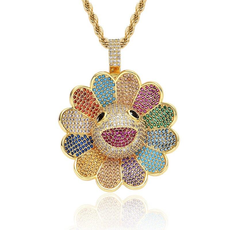 Tournesol collier hommes incrustation zircon Hip hop rotatif collier femme pendentifs fleurs colorées personnalisé collares de moda 2019