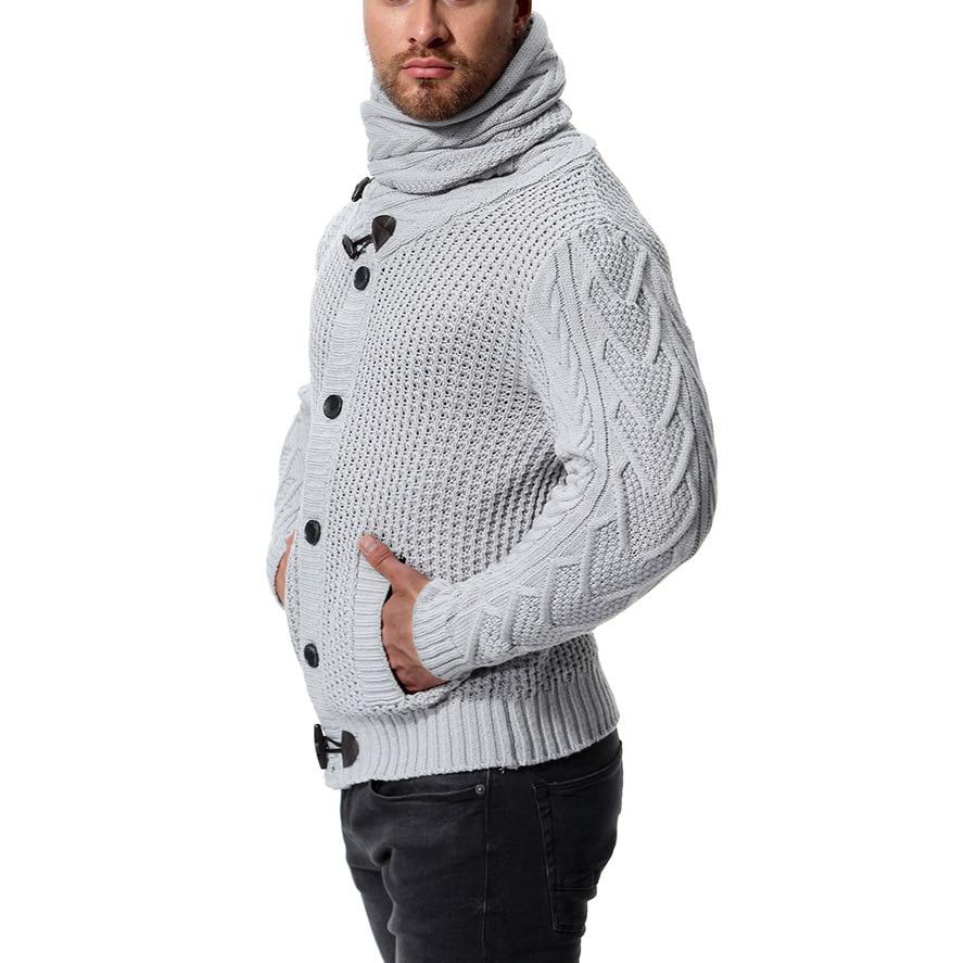 Slim Men's Knit Lapel Long Sleeve  Solid Color Regular Sweater For Men Winter High Neck