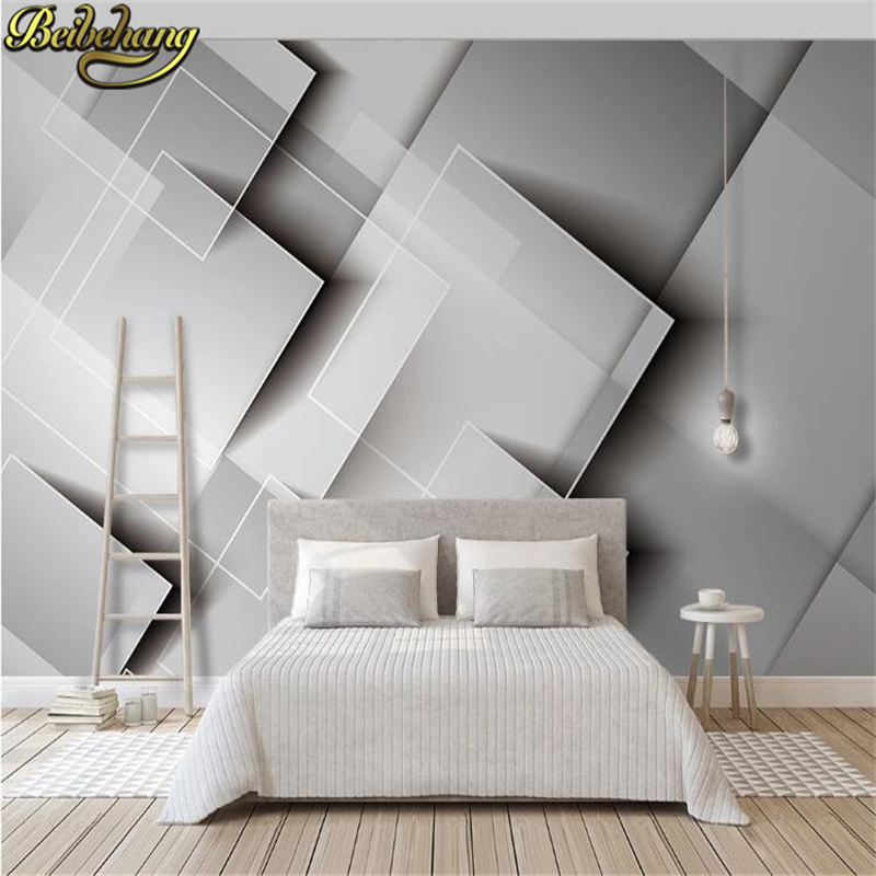 beibehang custom Simple geometric gray mosaic wallpaper for walls 3 D 3D photo mural wall paper roll pattern bedroom background
