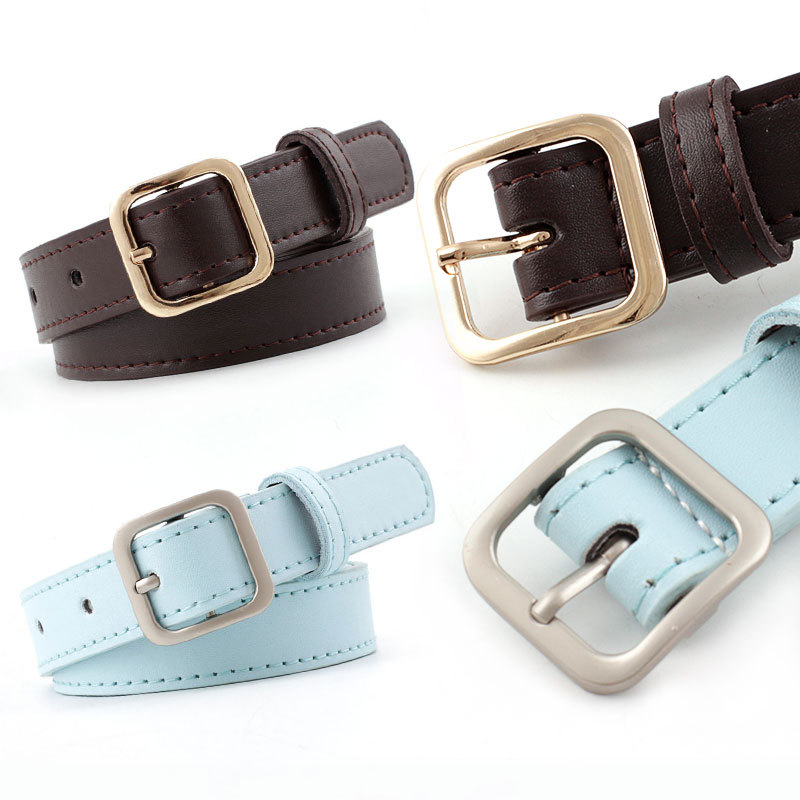 Women Jeans Decorative Casual Simple Leather Belt Luxury Brand New Alloy Pin Buckle Youth Students Wild Retro Belt
