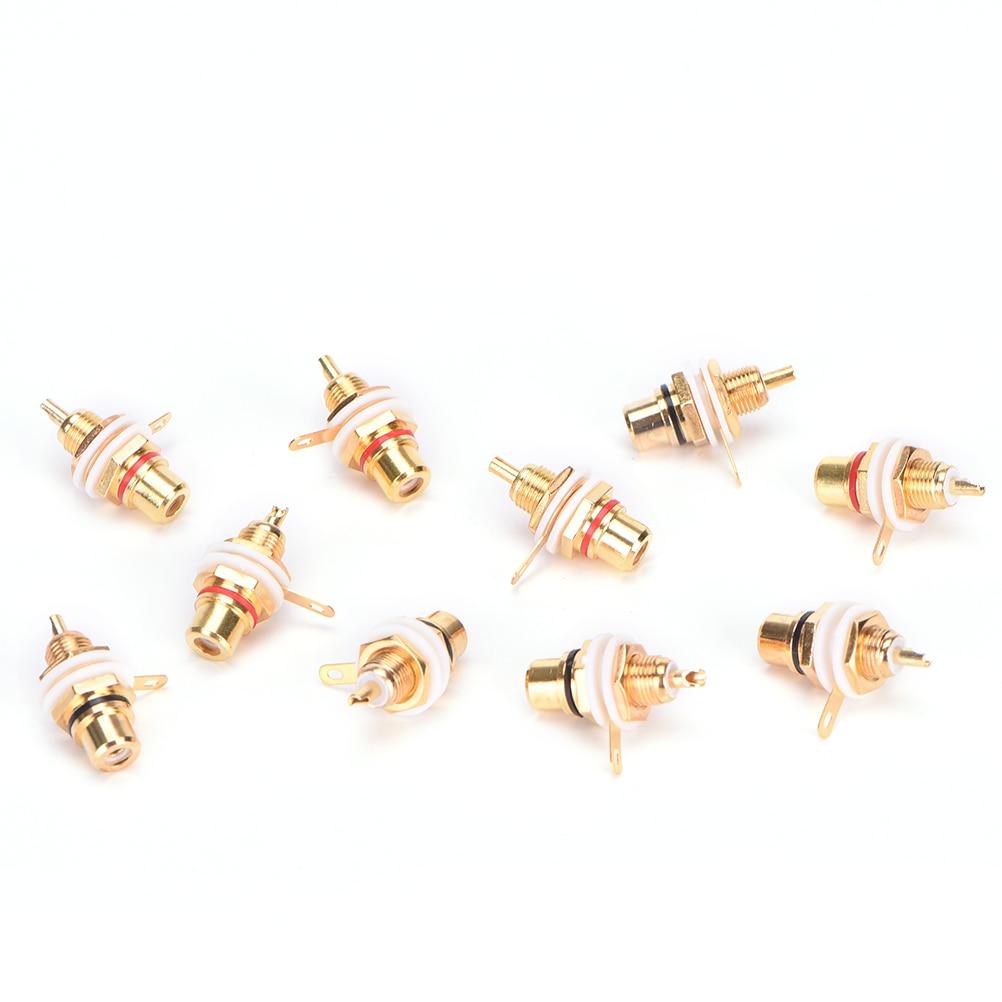 Conector RCA hembra, 10 Uds., conector Rca chapado, montaje en Panel dorado, toma de Audio para chasis, mampara, ciclo blanco con tuerca, copa de soldadura