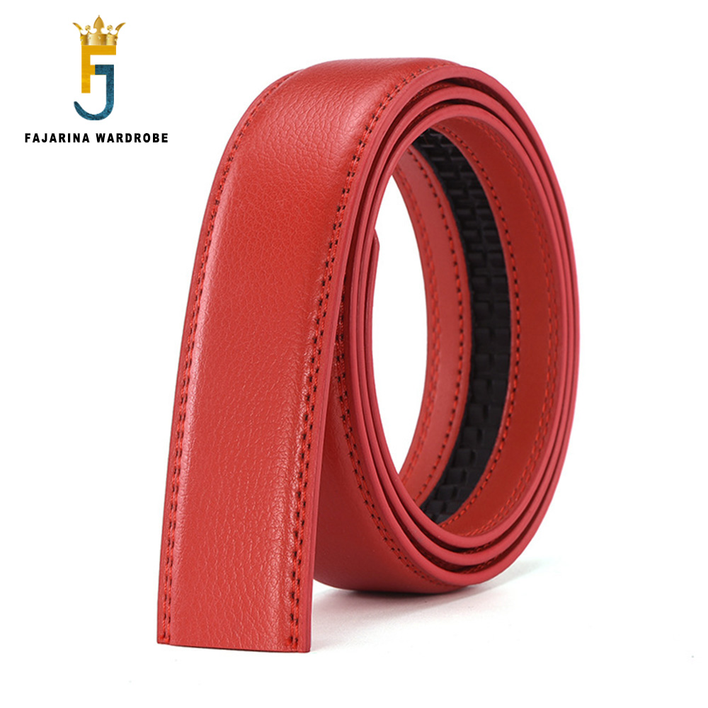 FAJARINA Good Quality Real Genuine Leather Men Automatic Ratchet Style 3.5cm Wide Belts without Buckle Made in China N17FJ1068