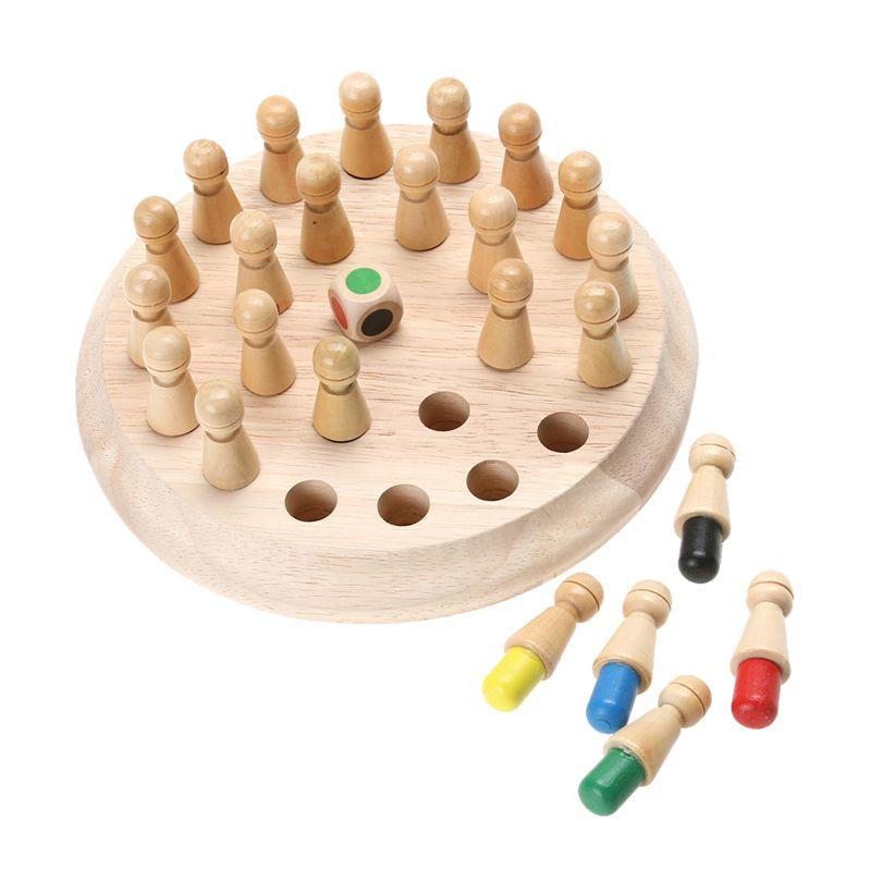 Conjunto de Madeira Jogo de Xadrez Jogo de Memória Festa da Família Vara Crianças Cedo Educacional 3d Quebra-cabeça Quebra-cabeças Jogo Casual 1 Mod. 312493