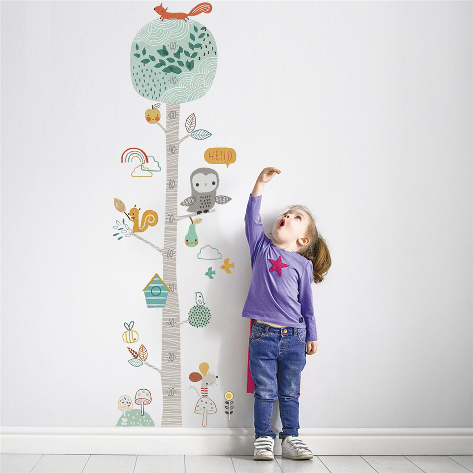 Kid Height Ruler Wallpaper Cartoon Forest Animal Tree Height Measure Wall Stickers For Kids Room Growth Chart Nursery Decoration