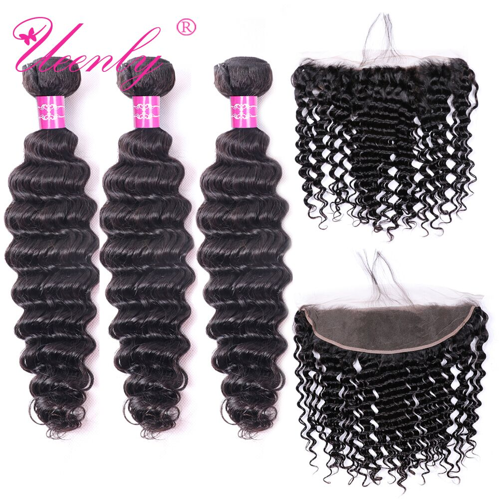UEENLY Deep Wave Bundles With Frontal Remy Human Hair Bundles With Closure Brazilian Hair Weave 3 Bundles With 13x4 Closure