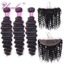 UEENLY Deep Wave Bundles With Frontal Remy Human Hair Bundles With Closure Brazilian Hair Weave 3 Bundles With 13x4 Closure(China)
