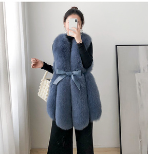 Image 2 - ZDFURS* Women Real Fox Fur Vest Belt Natural Fox Fur Gilets Warm Winter Ladies Luxury Fur Waistcoat