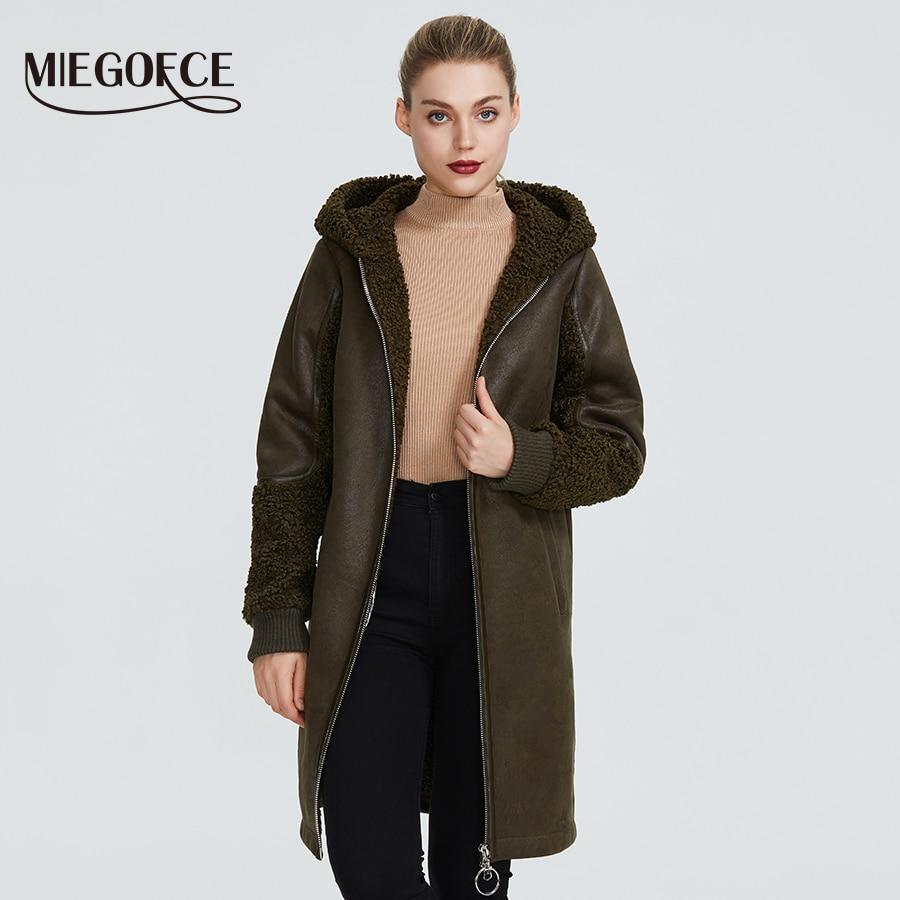 MIEGOFCE 2019 New Winter Women Collection Faux Fur Jacket Ladies Coat Design Women Sheepskin Parka Knee-Length Windproof Hood