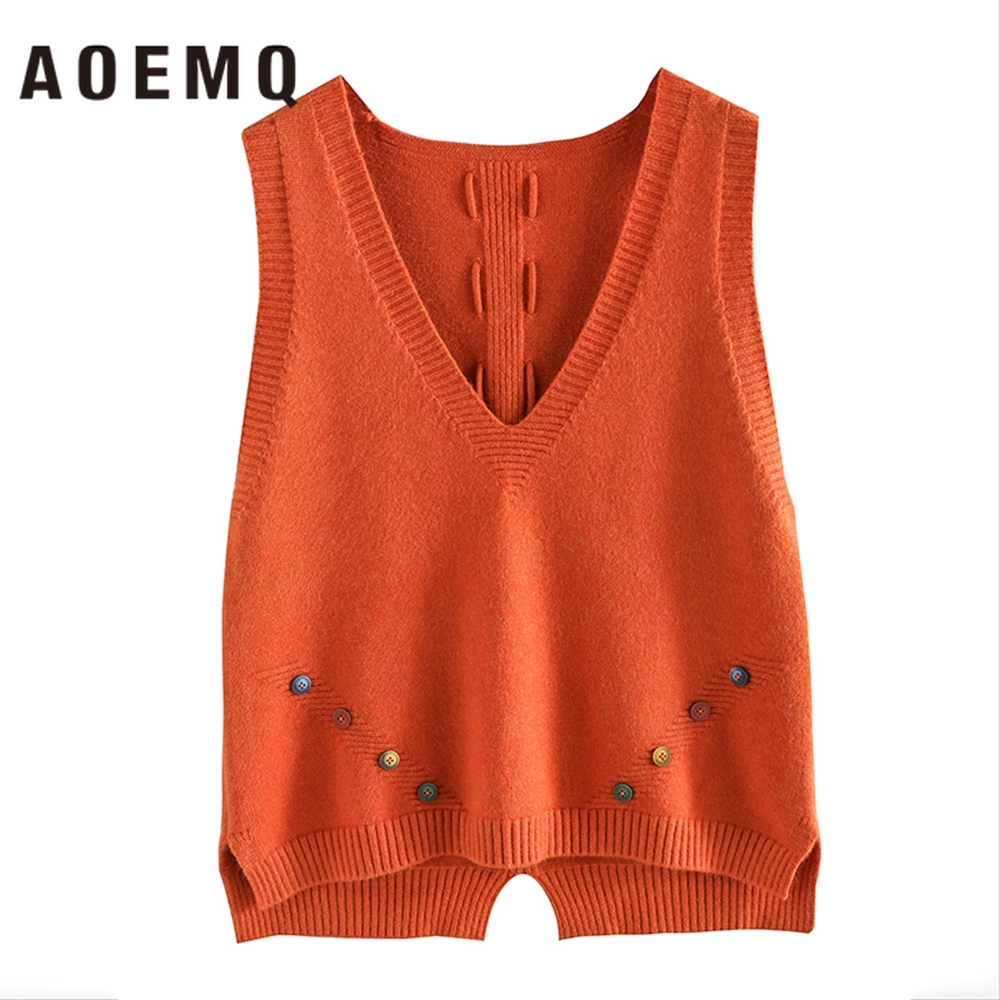 AOEMQ Vest Sweater 9 Colors V-Neck Sleeveless Sweater With Rainbow Button Decoration Vest Pullovers Loose Women Clothing