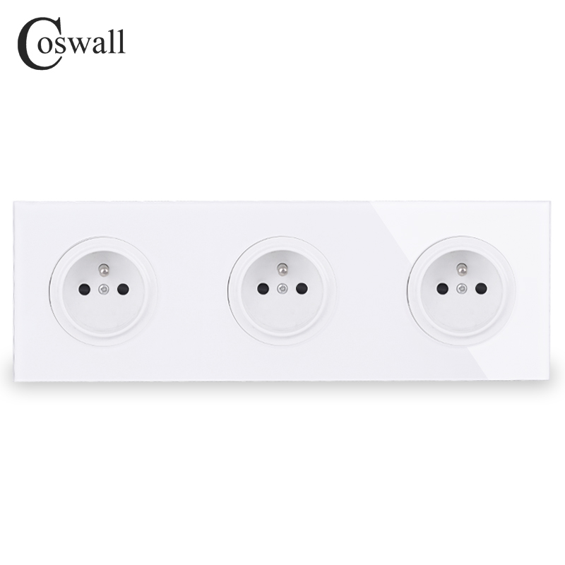 Coswall Crystal Tempered Pure Glass Panel 16A Triple French Standard Wall Power Socket Grounded With Child Protective Lock