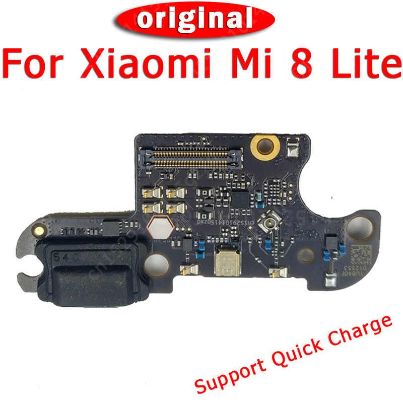 Asli Pengisian Port untuk Xiaomi Mi 8 Lite Mi8 Papan Charge Usb PCB Dock Konektor FLEX Kabel Pengganti Spare bagian