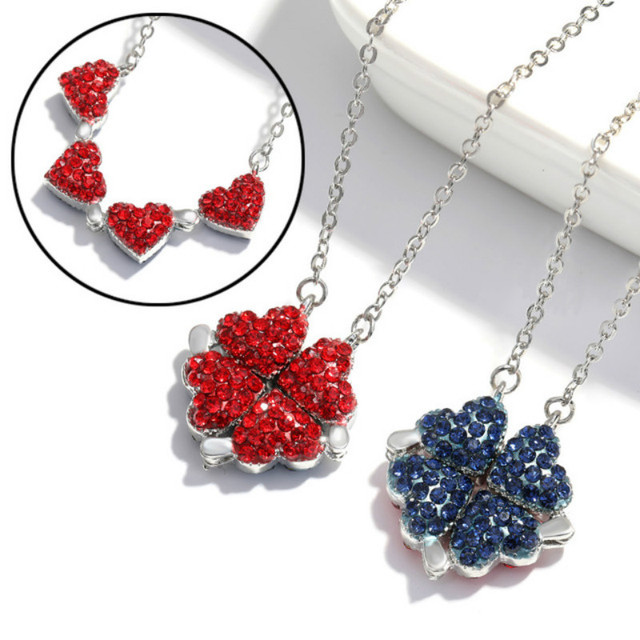 New Fashion Folding Four Clover Pendant Heart Necklaces Simple Flower Necklace for Women Birthday Jewelry Collares De Moda 2020 1