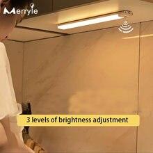 3 шт цвета Светодиодная подсветка под шкаф usb перезарядка датчик