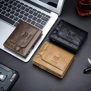 Image 5 - BULLCAPTAIN Men Wallet Genuine Leather Mens Purse Design male Wallets With Zipper Coin Pocket Card Holder Luxury Wallet