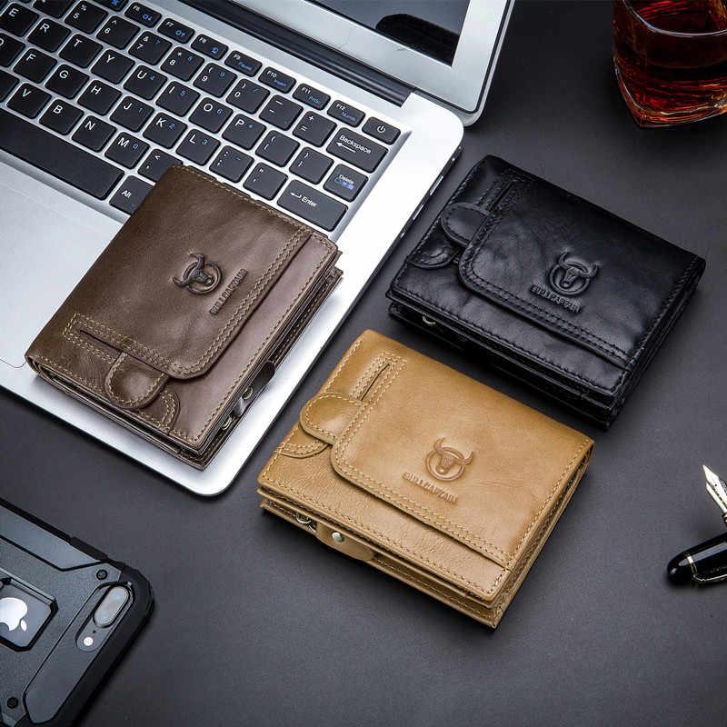 BULLCAPTAIN hommes portefeuille en cuir véritable hommes sac à main Design homme portefeuilles avec fermeture à glissière poche à monnaie porte-carte portefeuille de luxe