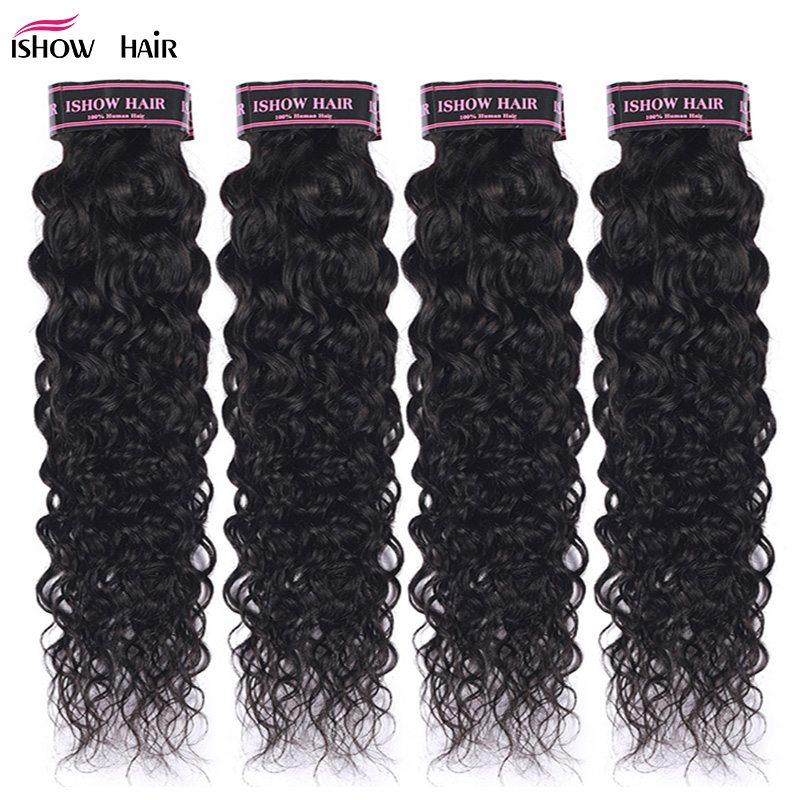 Ishow Peruvian Water Wave Human Hair Weave Bundles 1pc Natural Black Non Remy Hair Extensions Head Need 3 Or 4 Bundles