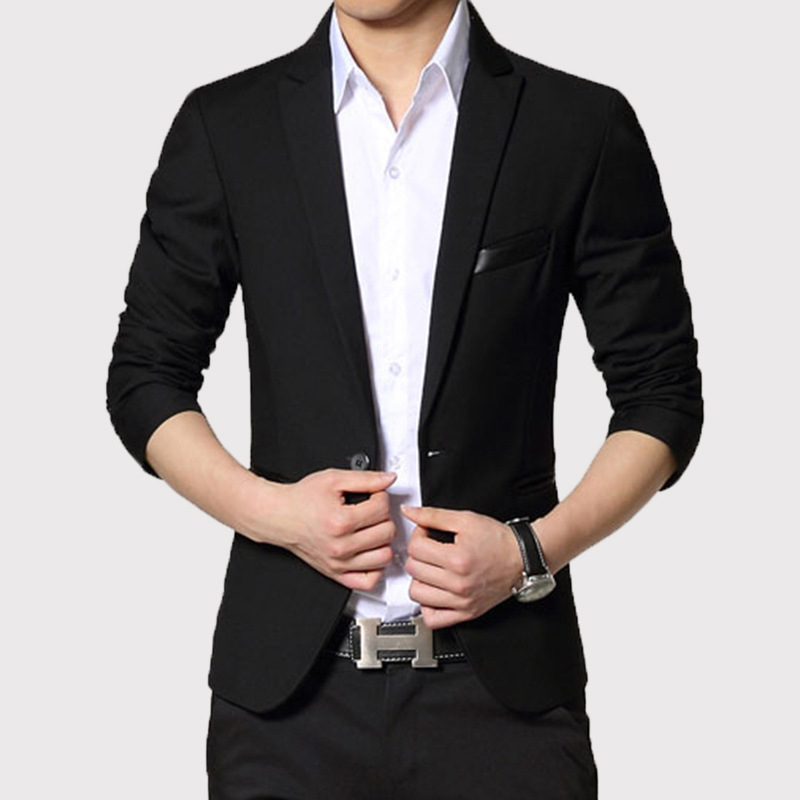 Мужской пиджак с одной пуговицей, корейский стиль, приталенный Повседневный пиджак, 2019