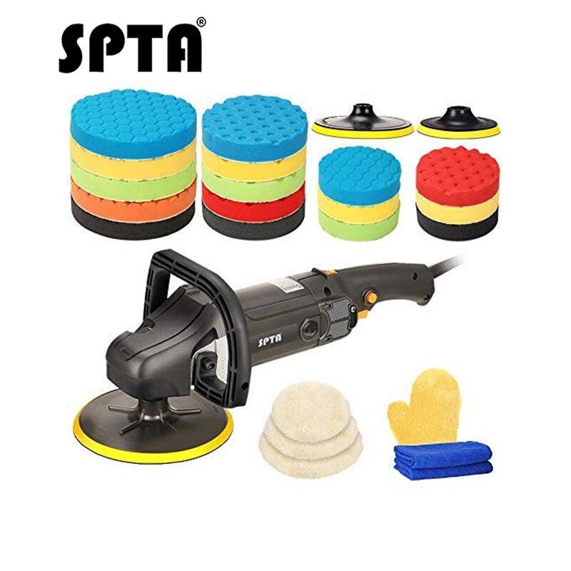 SPTA 7 Inch 178mm Rotary Polisher Car Polisher Electric Polisher Ro Polisher & Polishing Pads Set For Auto Buffing And Polishing