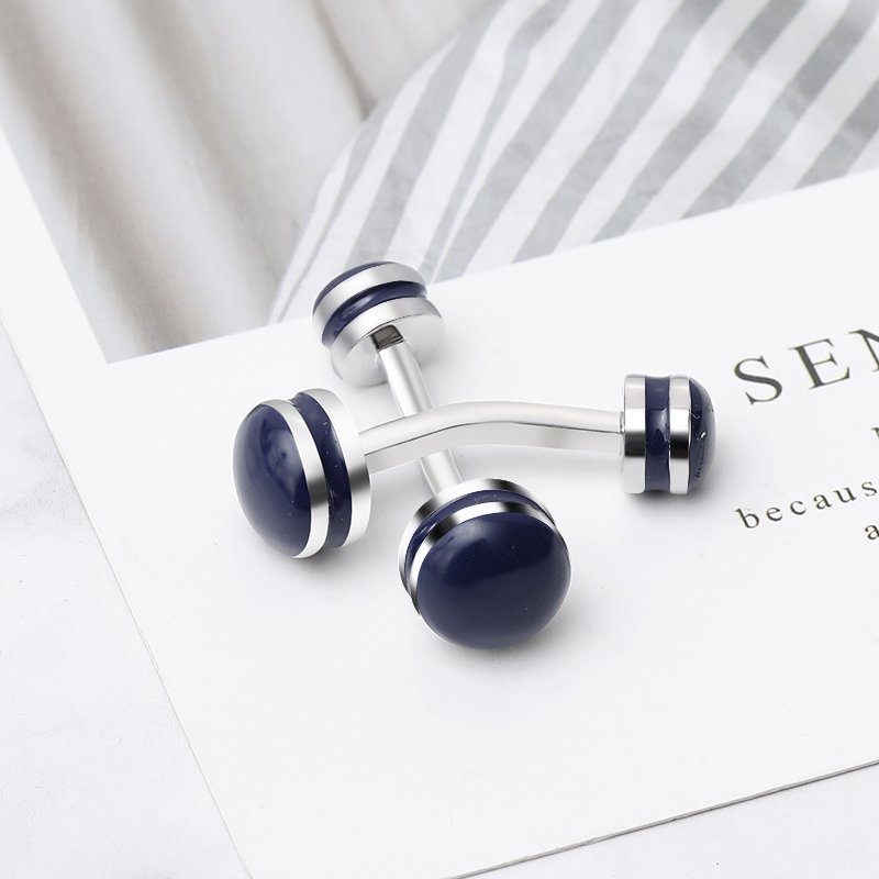 2019 New Creative Movement a Barbell Cufflinks Mens Shirt Cuff Button Christmas Gifts for Men Silver Plated Cuff Link(China)