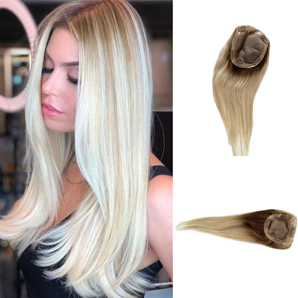 Women Toupee European Two Tone Closure Wig Ombre Blonde Jewish Hair Toppers For Women  Remy Hair Mono Lace Front Top Piece