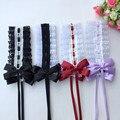 Женская Кружевная повязка на голову lolita, модная повязка на голову с бантом, аксессуары для волос, бесплатная доставка