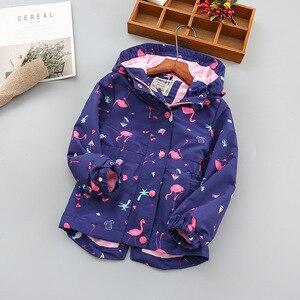 Image 2 - 패션 방수 후드 인쇄 어린이 코트 따뜻한 양 털 아기 소녀 자 켓 어린이 겉옷 아이 의상 90 150cm