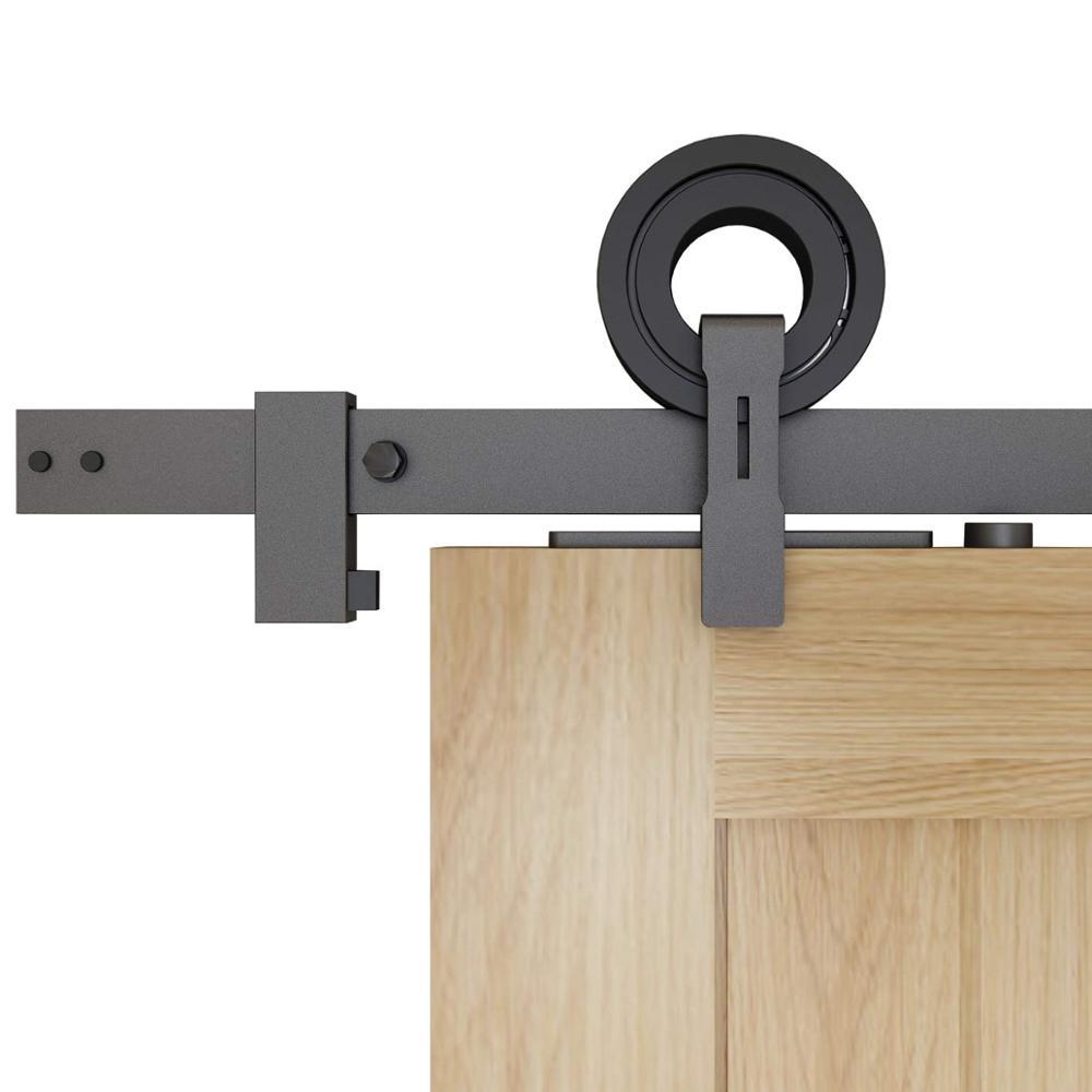 DIYHD Top Mount Ring Roller Rustic Black Sliding Barn Door Hardware