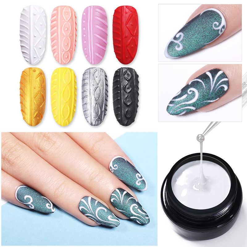 Lilycute 5 Ml Sutra Point Line Spider Cermin 3D Timbul Gel Cat Kuku Ukiran Gel Diy Rendam Off UV LED gel Pasta Nail Art
